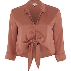 Copper satin tie front shirt