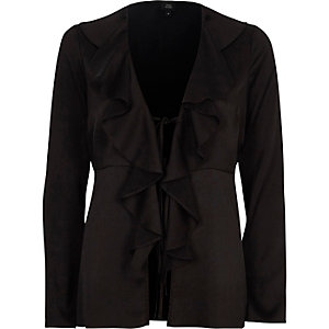 Black satin frill tie-up long sleeve blouse