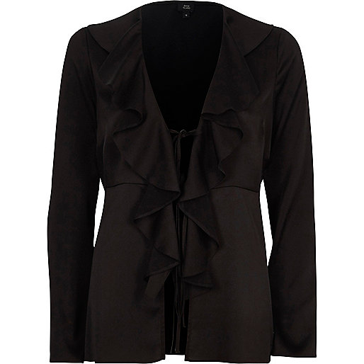 Black satin frill tie-up long sleeve blouse