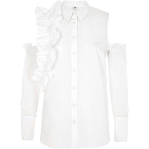 White frill cold shoulder shirt