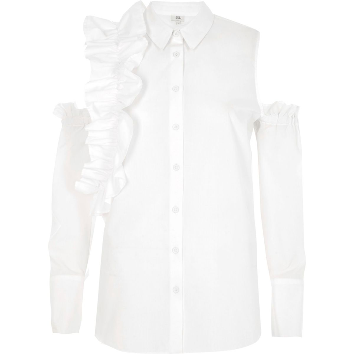 White frill cold shoulder shirt