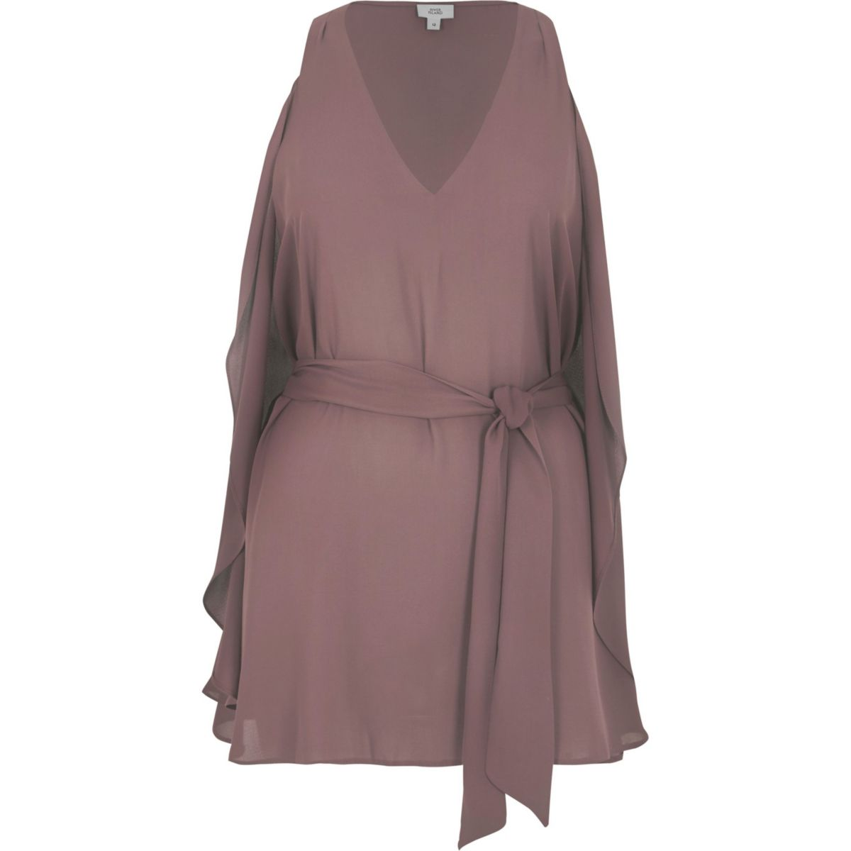 Light purple V neck wrap top