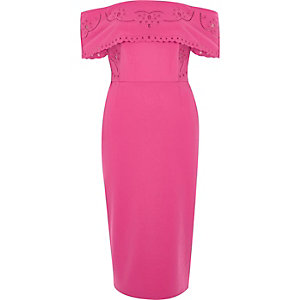 Pink broderie bardot bodycon midi dress