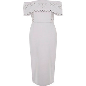 Light grey broderie bardot bodycon midi dress