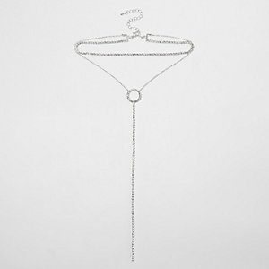 Silver tone cup chain circle multi row choker