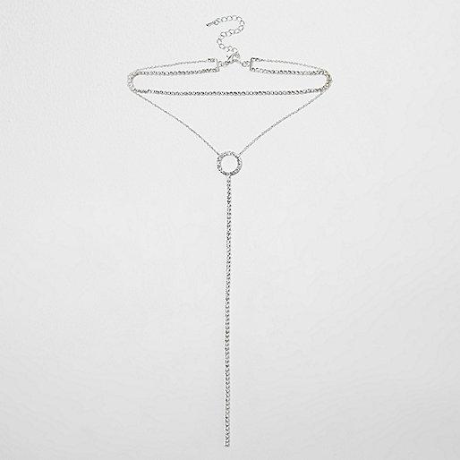 Silver tone cup chain circle multi row choker