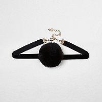 Collier ras du cou noir à pompons