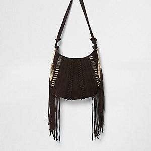 Dark brown suede fringed cross body bag