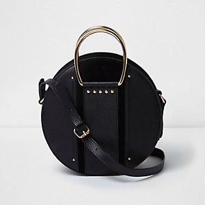 Black leather round handle cross body bag