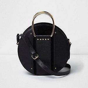 Schwarze Umhängetasche aus Leder mit rundem Griff