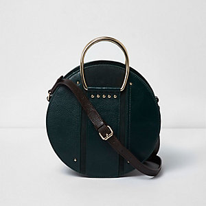 Dark green leather round cross body bag