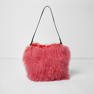 Pink red mongolian wool leather bucket bag