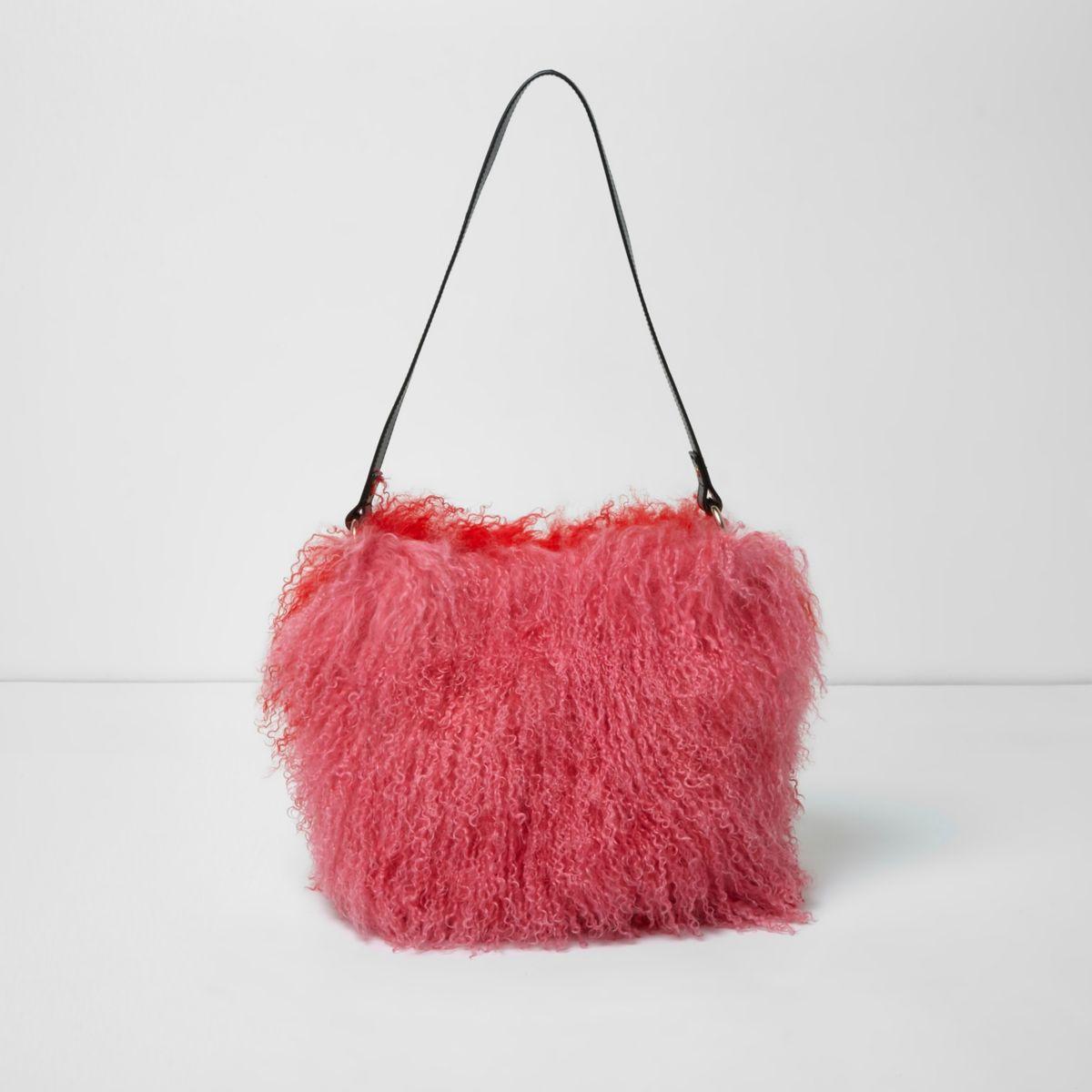 Pink red mongolian wool leather bucket bag