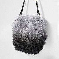 Black mongolian wool leather bucket bag