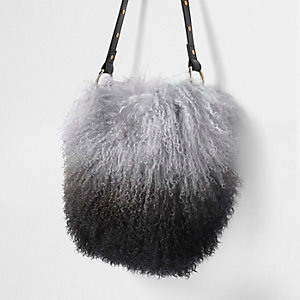 Black mongolian wool leather bucket bag