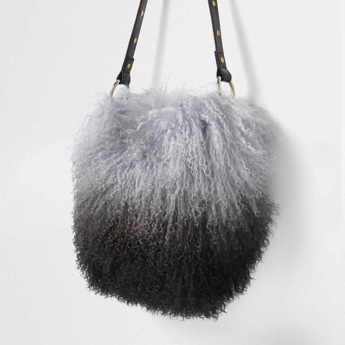 Black mongolian fur leather bucket bag