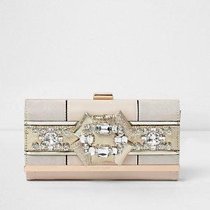 Cream gem embellished clip top purse