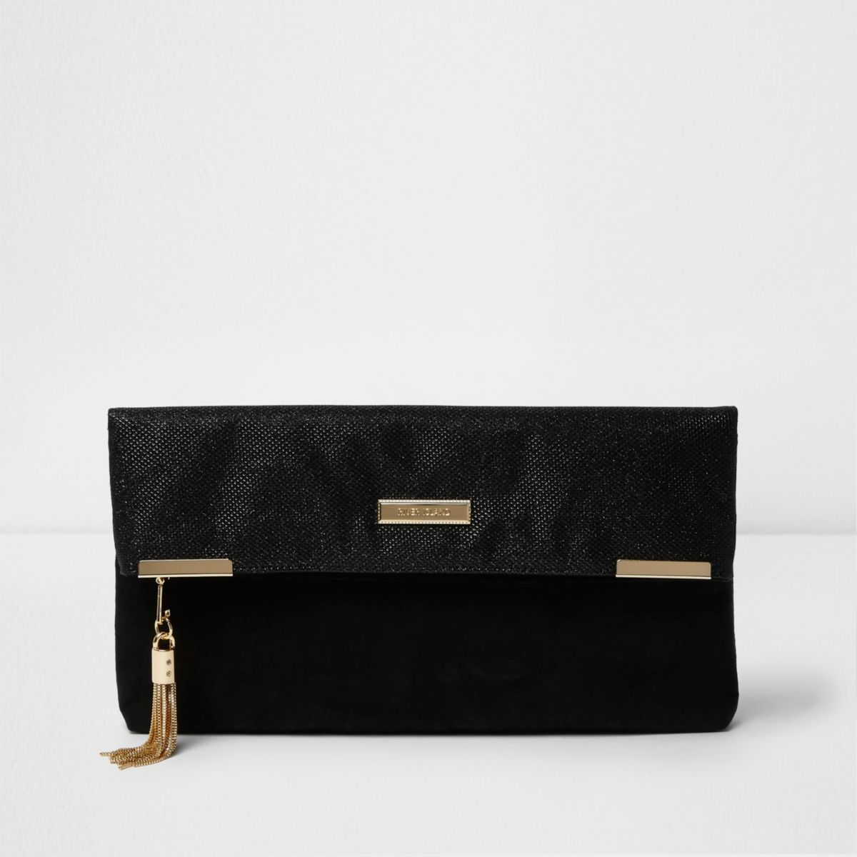 Black tassel detail foldover clutch bag