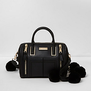 Black pom pom strap bowler bag