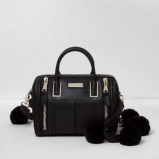 Black pom pom strap bowler bag