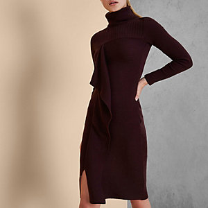 Burgundy RI Studio knit rib roll neck dress
