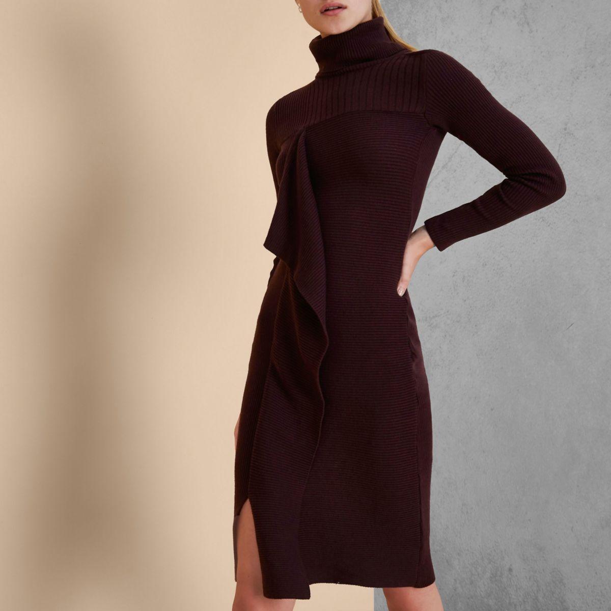 Burgundy Ri Studio Knit Rib Roll Neck Dress by River Island