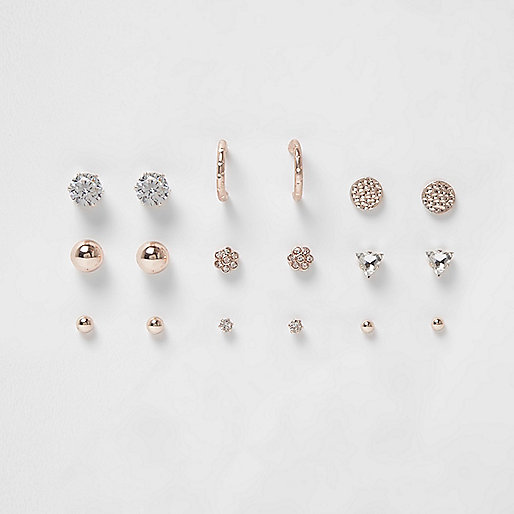 Rose gold tone diamante stud earrings pack