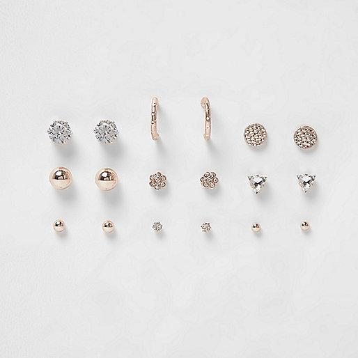 Rose gold tone rhinestone stud earrings pack