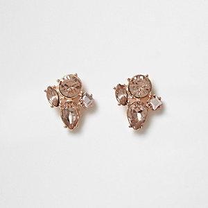 Clous d'oreilles or rose à strass