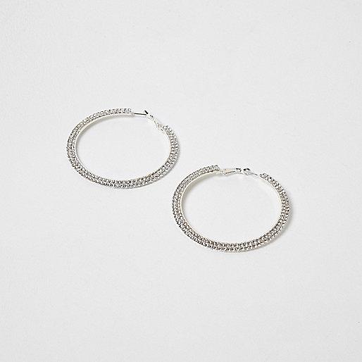 Silver tone diamante cup chain hoop earrings