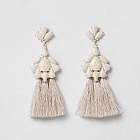 Cream tassel drop earrings