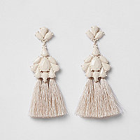 Cream tassel drop earrings