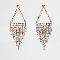 Silver tone cup chain dangle earrings