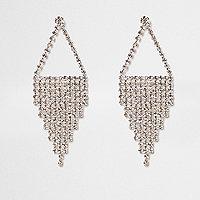 Zilverkleurige oorhangers met ingelegde steentjes