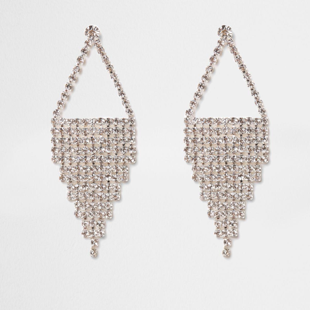 Silver tone cup chain dangle earrings