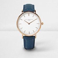 Elie Beaumont – Montre avec bracelet en cuir bleu