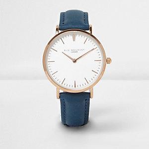 Elie Beaumont – Blaue Uhr mit Lederarmband