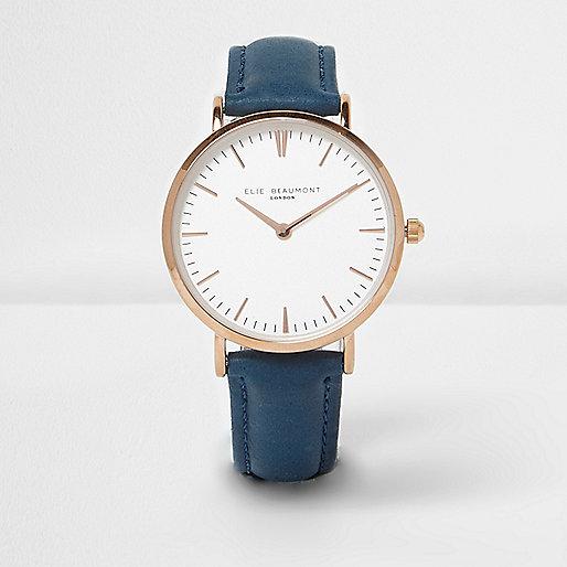 elie beaumont blaue uhr mit lederarmband armbanduhren damen. Black Bedroom Furniture Sets. Home Design Ideas