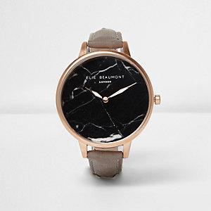 Elie Beaumont - Grijs horloge met zwarte marmeren wijzerplaat