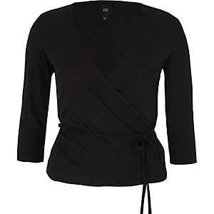 Black wrap waist tie long sleeve ballet top