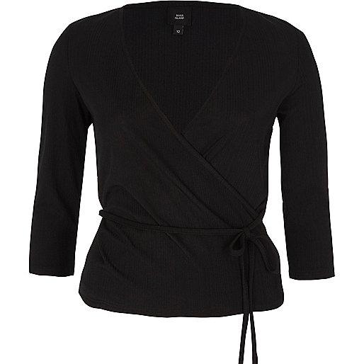 Black wrap waist tie long sleeve ballet top