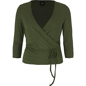Khaki wrap waist tie long sleeve ballet top
