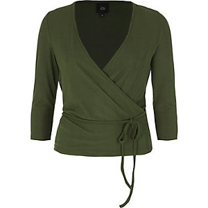 Khaki wrap waist tie long sleeve ballet top
