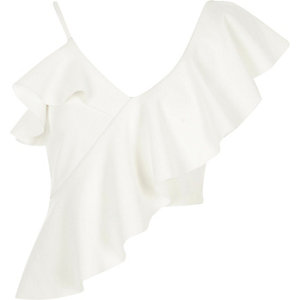 White asymmetric frill crop top