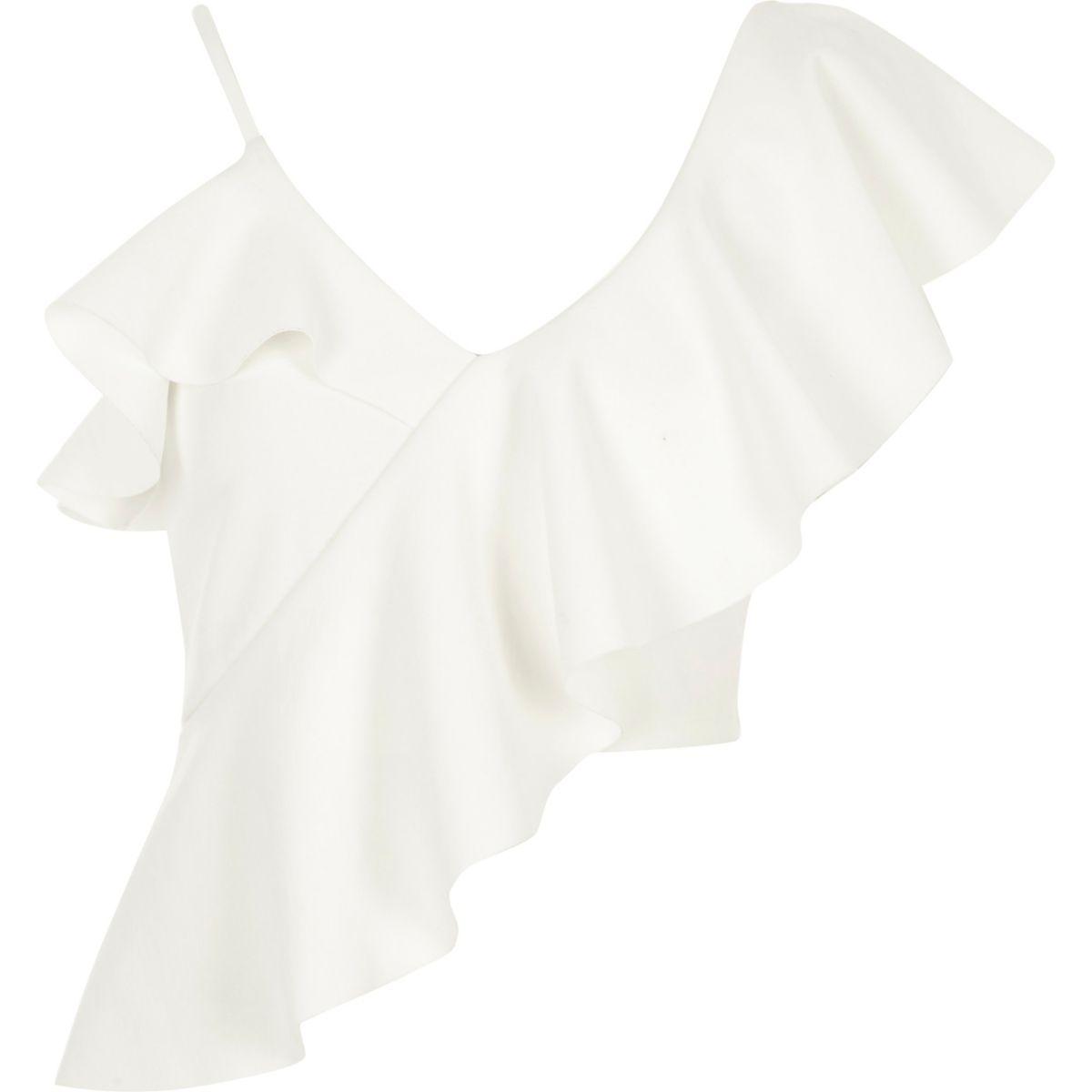 White asymmetric frill crop top