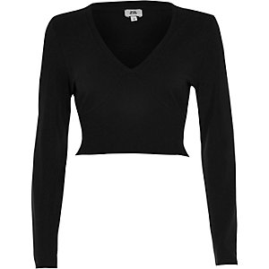 Black long sleeve ribbed insert crop top