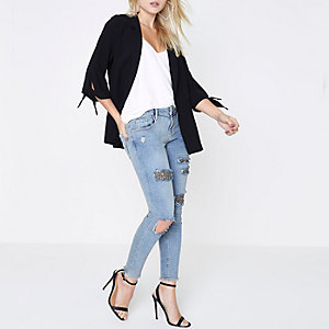 RI Petite - Alannah - Blauwe ripped skinny jeans met lovertjes