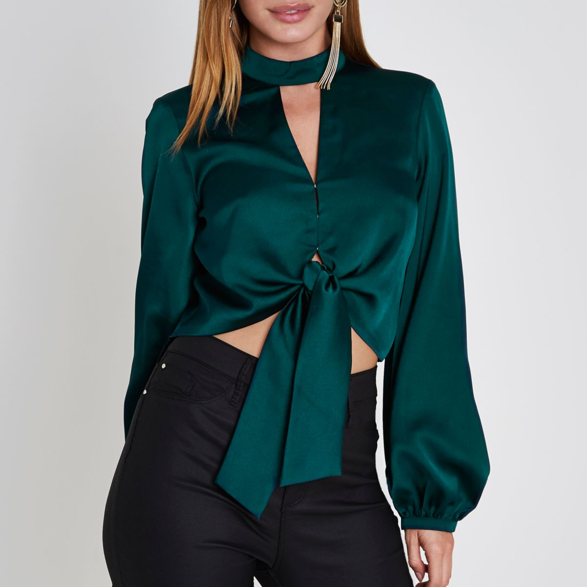 Petite green choker neck tie front crop top