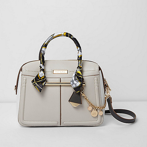 Grey scarf handle chain cross body bowler bag