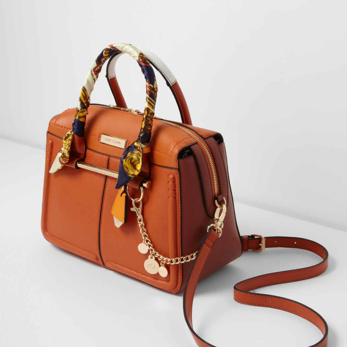 Orange scarf handle cross body bowler bag